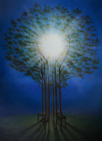 Same,Sun,for,All,(original),oil painting, surreal painting, trees, sun, glare, chairs