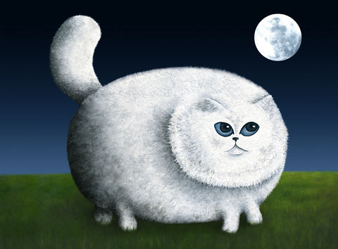 Fat,Cat,Looks,at,the,Moon,(print),fat cat, moon, night, cat print