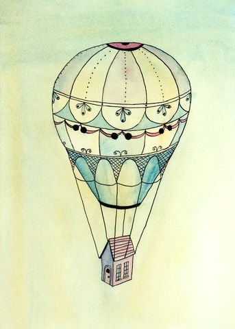 Traveling,Far,(original,watercolor),hot air balloon, tiny house, tiny home, watercolor house, pink house, purple house, vintage hot air balloon