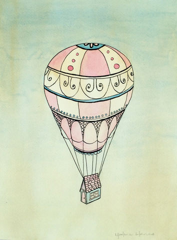 Hot,Air,Balloon,Never,Ending,Travels,(original,watercolor),$50,reduced,to,32!,hot air balloon, tiny house, tiny home, watercolor house, pink house, blue house, vintage hot air balloon
