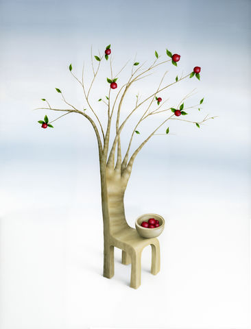 Still,There,(print),strawberry guava tree, chair, tree, fruits