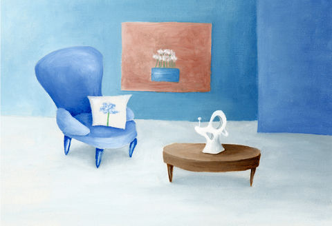 Contemporary,World,(original),$60,reduced,to,$44!!,contemporary, flowers, blue, furniture, interior