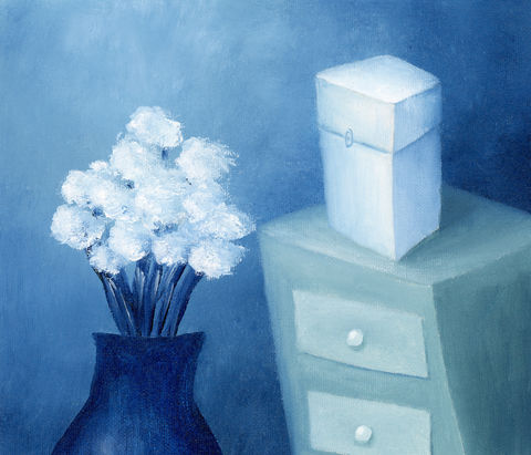 White,Flowers,in,Blue,Vase,(original),$50,reduced,to,$29!!!,vase
