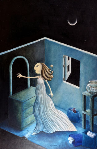 Touching,the,Stars,(original),$200,reduced,to,$120,stars, moon, dream, woman, skull, heart, mirror, window, white dress, night, starry night, fish bowl, feminine