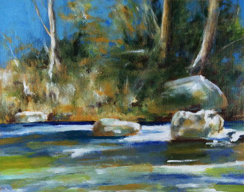 River,(acrylic,painting,on,paper),original,$50,reduced,to,$36!,river painting