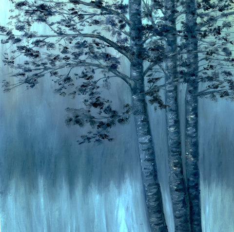 Birch,Trees,at,Dawn,(original),$100,reduced,to,$60!!,birch trees, blue
