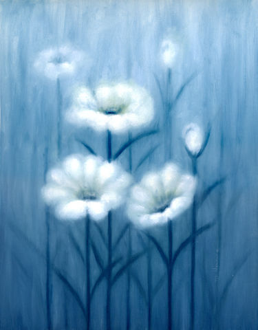 White,Flowers,at,Dawn,(original),$150,reduced,to,$80!!,white flowers
