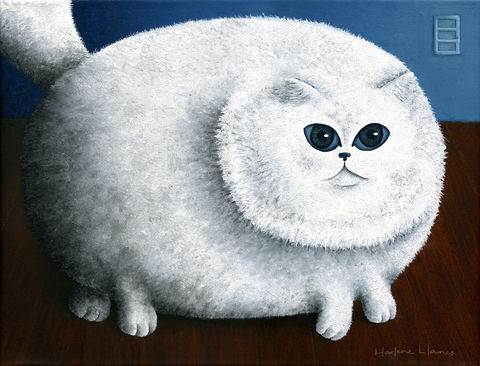 Fat,Cat,(prints,start,at,$26),cat, fat cat, fun, cat painting, cat print