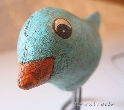 Bluebird,Soft,Sculpture,Tiny,Fabric,Bird,Folk,Art,Doll,art doll, soft sculpture, bluebird, bird, folk art, fabric, tiny, painted, softie, wire, blue, orange, stuffed, 3D object, prim, primitive, turquoise, aged, canada, peaceofpi, cotton, handmade, doll