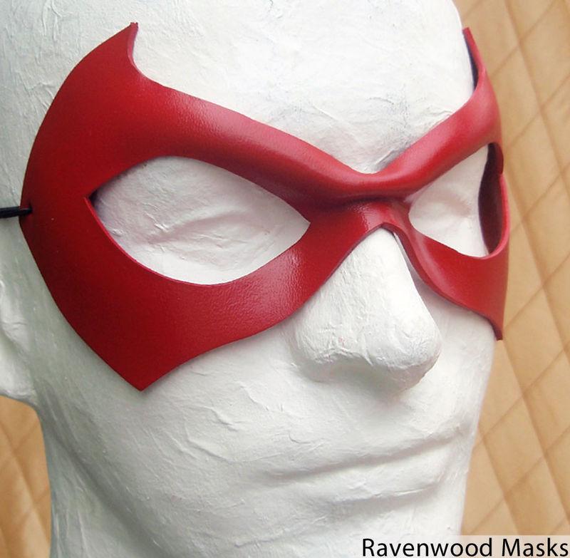 Red leather superhero mask