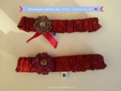 Winter,Collection,-,Princess,Headband,Free,UK,Delivery,Accessories,Hair,crochet_flower,gold_button,rose,cotton,elastic,headband,accessory,princess,hair_accessory,red_ribbon