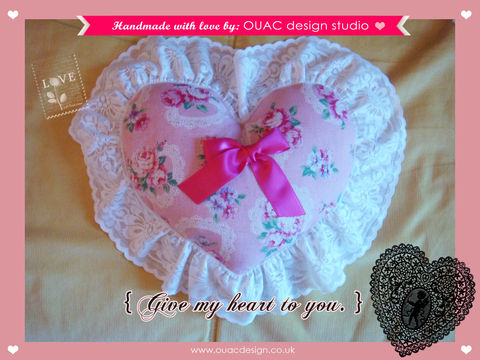 Give,My,Heart,To,You,(Part.1),-,Sweet,Pink,Roses,Violace,Print,with,Lace,Heartshape,Pillow/Cushion.,Free,UK,Delivery,valentine's gift, valentine, pillow, valentine special, cushion, for her, lace, rose, heartshape, heart