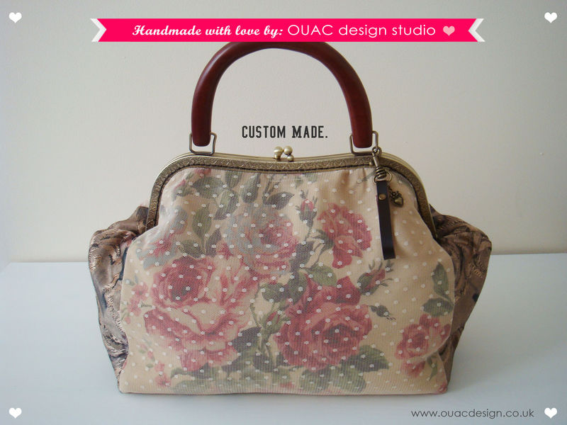 CUSTOM MADE - Luxury Lace Vintage Rose Purse with Wooden Handle (For Shiain). - product images  of
