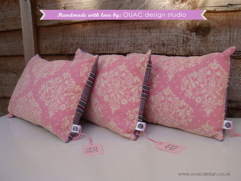 Luxury,&,Elegant,Pink,,Dotty,Lace,Pillow/Cushion,,FREE,UK,Delivery,dotty lace, pink, elegant print, cotton, lace, cream, wool tweed, polyster