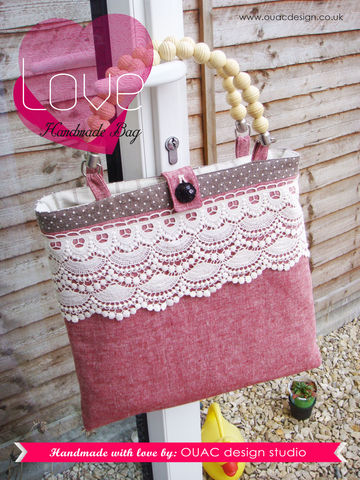 Sweet,Lady,Look,-,Retro,Chic,Spring,Bag.,Perfect,for,the,girls,who,loves,reading.,FREE,UK,Delivery,Retro bag, Retro Chic, Spring, Lace, Red, wooden handles, wooden, shabby chic, white, cream, lace trim, bag