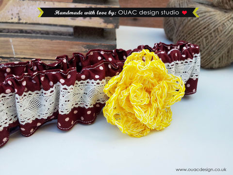 Dotty,Vintage,Style,Headband,with,crochet,Yellow,Daffodil.,Free,UK,Delivery,daffodil, gig, headband, lace, flower, hair accessories, dotty, vintage