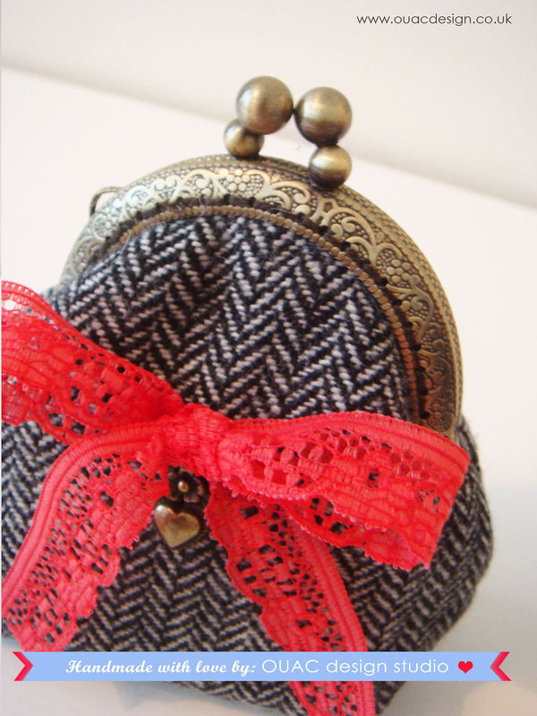 Winter Collection - Luxury Princess Winter Black Silk Tweed Embossed Vintage Coin Purse with Gorgeous Love Charm. Free UK Delivery - product images  of