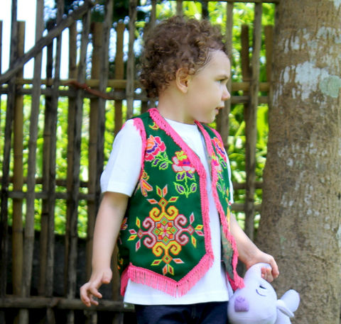 Girls,Vintage,Hmong,Ethnic,Fringed,Vest,Clothing,Girl,hippie_kids,bohemian,childrens,girls_clothes,vest,hmong_embroidered,ethnic_clothing,floral_vest,girls,top,fair_trade,eco_friendly,cotton_clothes,cotton,Hmong embroidery,snaps,fringe