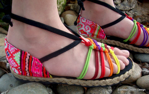 Girls,Strappy,Rainbow,Sandals,with,Pink,Ethnic,Hmong,Embroidery,Children,Clothing,Shoes,childrens,boho,hippie,vegan_shoes,Hmong_embroidery,ethnic_childrens,Hmong_shoes,handmade_shoes,4,sandals,rainbow,girls_shoes,summer_shoes,cotton,rubber,Hmong embroidered cotton