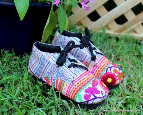 Little,Zoe,-,Girls,Oxford,Shoes,in,Bright,Hmong,Embroidery,and,Indigo,Batik,Children,Clothing,childrens,boho,hippie,vegan_shoes,Hmong_embroidery,toddler_shoes,ethnic_childrens,Hmong_shoes,toddler,7_5_8_10_12_5,oxfords,tie_shoes,handmade_shoes,Naga original textiles,cotton,rubber