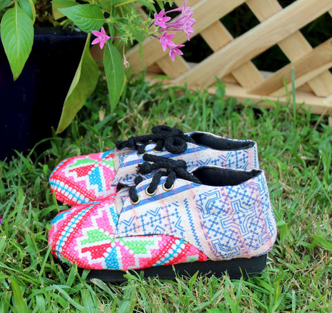Little,Zoe,Girls,Shoes,in,Bright,Hmong,Embroidery,and,Batik,Oxford,With,Ties,Children,Clothing,childrens,boho,hippie,vegan_shoes,Hmong_embroidery,toddler_shoes,ethnic_childrens,Hmong_shoes,toddler,oxfords,tie_shoes,handmade_shoes,Naga original textiles,cotton,rubber