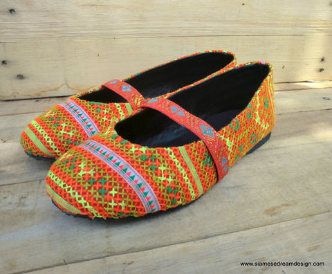 Girls,Orange,Ethnic,Hmong,Embroidered,Ballet,Flats,Children,Clothing,Shoes,boho,hippie,vegan_shoes,Hmong_embroidery,ethnic_childrens,Hmong_shoes,handmade_shoes,ballet_flats,girls,shoes,embroidered_shoes,2_3_4,orange,cotton,rubber,Hmong embroidery