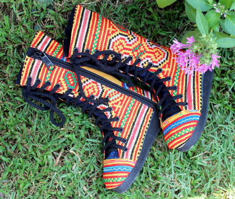 Little,Girls,Combat,Boots,In,Yellow,Hmong,Embroidery,Children,Clothing,Shoes,childrens,boho,hippie,childrens_boots,Hmong_embroidery,boots,ethnic_childrens,embroidered_boots,Hmong_shoes,toddler,9_11_5,combat_boots,vegan_boots,cotton,rubber,Hmong embroidered cotton