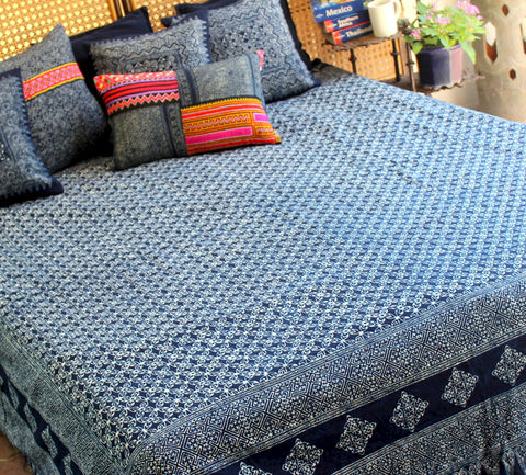 Queen,Duvet,Cover,-,Natural,Hmong,Indigo,Batik,Cotton, boho bedding, indigo batik Duvet cover,Hmong duvet,quilt,bedding,Indigo_Batik,batik_blanket,Hmong_blanket,ethnic_home_decor,Vintage_Hmong,housewares,bohemian_bedding,queen_bedding,queen indigo batik duvet,natural cotton