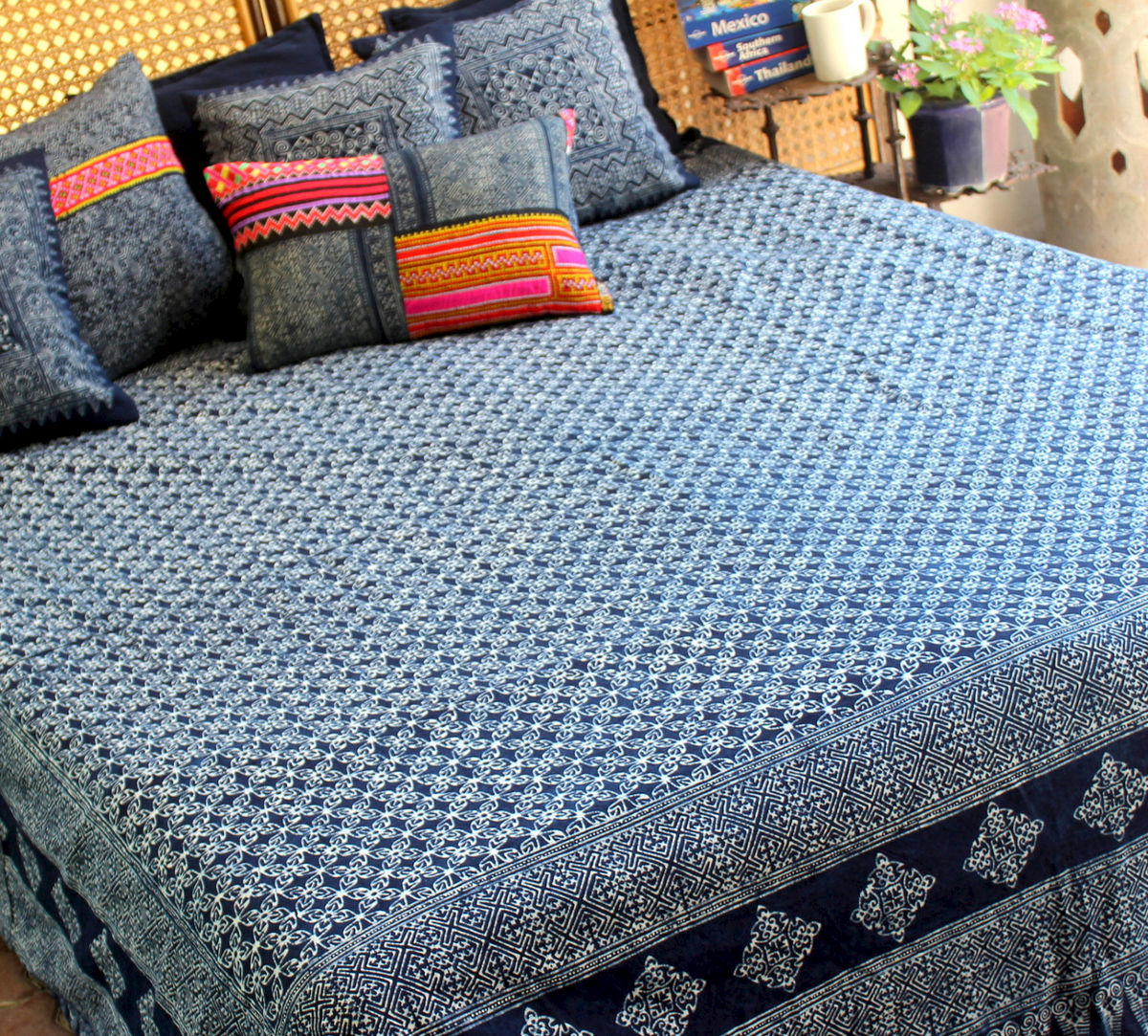 Queen Duvet Cover - Natural Hmong Indigo Batik Cotton  - product images  of