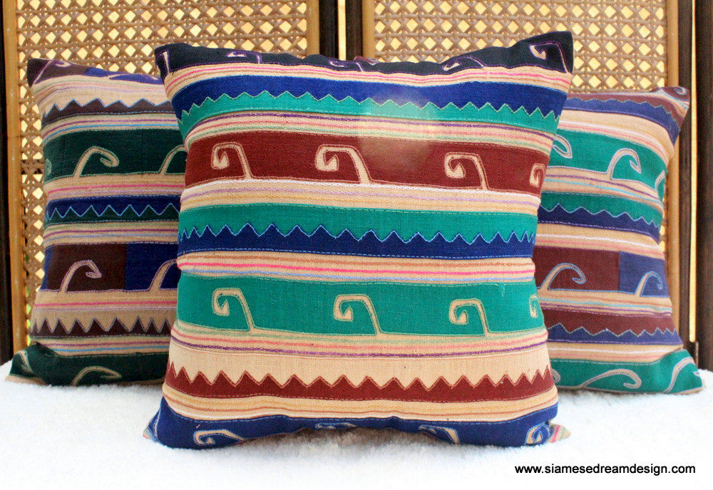 Primitive Tribal Appliqued Akha Symbols on Tan 18 Inch Pillow / Cushion Cover - product images  of
