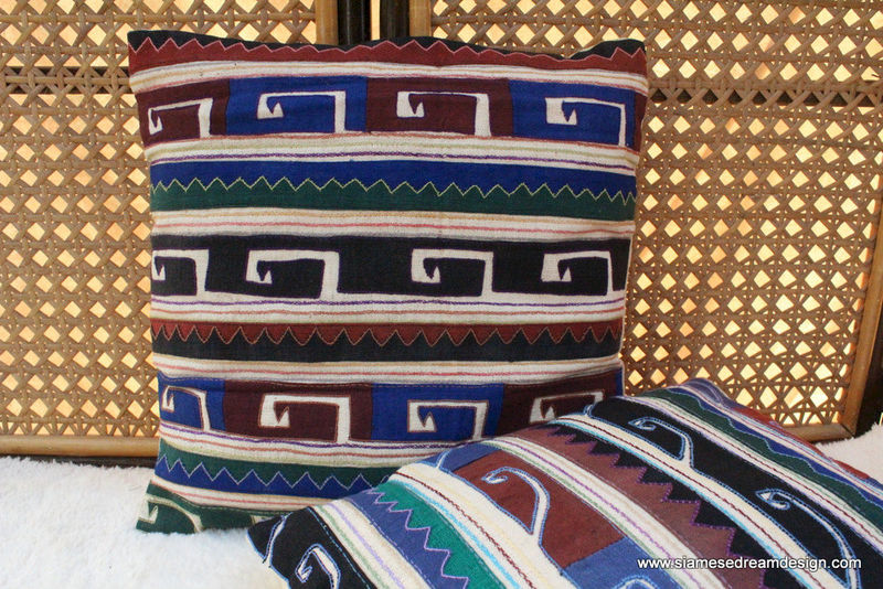 "Primitive Tribal Appliqued Akha Symbols on Ivory 16 "" Pillow / Cushion Cover - product images  of"