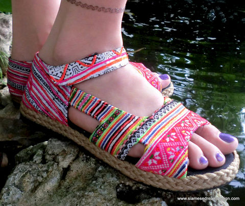Cealie,Colorful,Embroidery,&,Batik,Open,Toe,Mary,Jane,Clothing,Shoes,Women,Shoe,Ethnic,Embroidered,Tribal,Hmong,Espadrille,Flat,Colorful_Espadrille,Mary_Jane,Vegan_Shoes,Colorful_Shoes,Natural Cotton,Tribal Embroidery