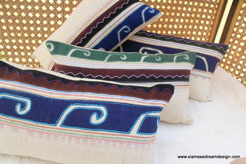Primitive,Lumbar,Pillow,Embroidered,Akha,Tribal,Symbols,Housewares,Applique,Cushion,Colorful,Throw,Accent,Pillow_Cover,Cushion_Cover,ivory,lumbar_pillow,ivory_pillow,decorative_pillow,housewares,cotton,embroidery,applique