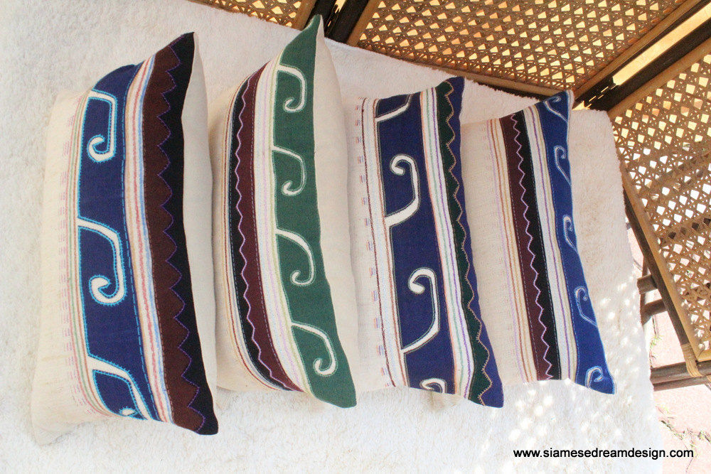 Primitive Lumbar Pillow Embroidered Akha Tribal Symbols  - product images  of