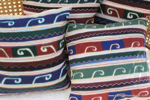 18,,Primitive,Appliqued,Akha,Tribal,Symbols,On,Ivory,Pillow,/,Cushion,Cover,Housewares,Applique,Covers,Throw,Accent,Pillow_Cover,Cushion_Cover,Akha_Embroidery,Colorful_Pillow,housewares,ivory_pillow,cotton,embroidery,applique