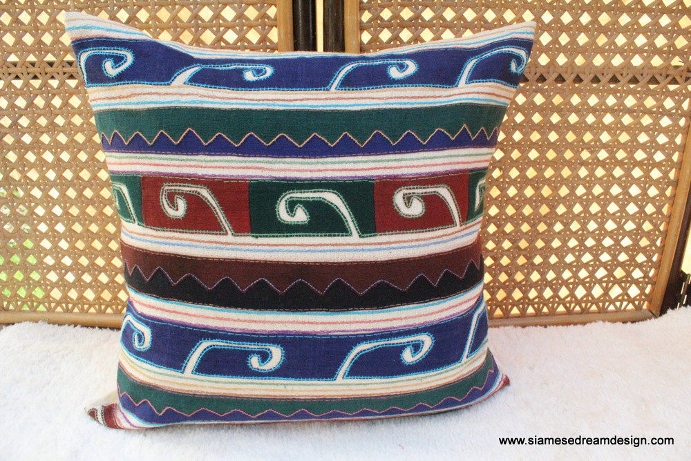 "18 "" Primitive Appliqued Akha Tribal Symbols On Ivory Pillow / Cushion Cover - product images  of"