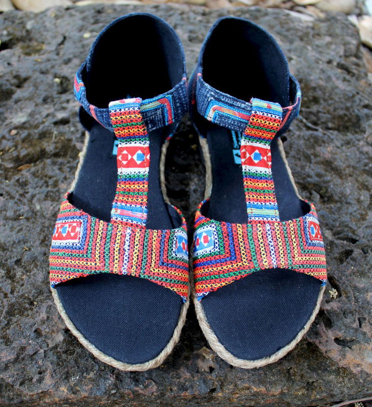 Lindsay T Strap Vegan Womens Sandal In Hmong Vintage Embroidery and