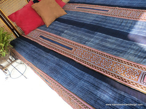 Double,Duvet,Cover,-,Vintage,Hmong,Indigo,Batik,and,Embroidery,Cotton, Boho Bedding,natural_cotton,duvet,quilt,bedding,batik_blanket,Hmong_blanket,ethnic_home_decor,Vintage_Hmong,embroidery,cross_stitch,double,cotton,natural cotton,applique,batik
