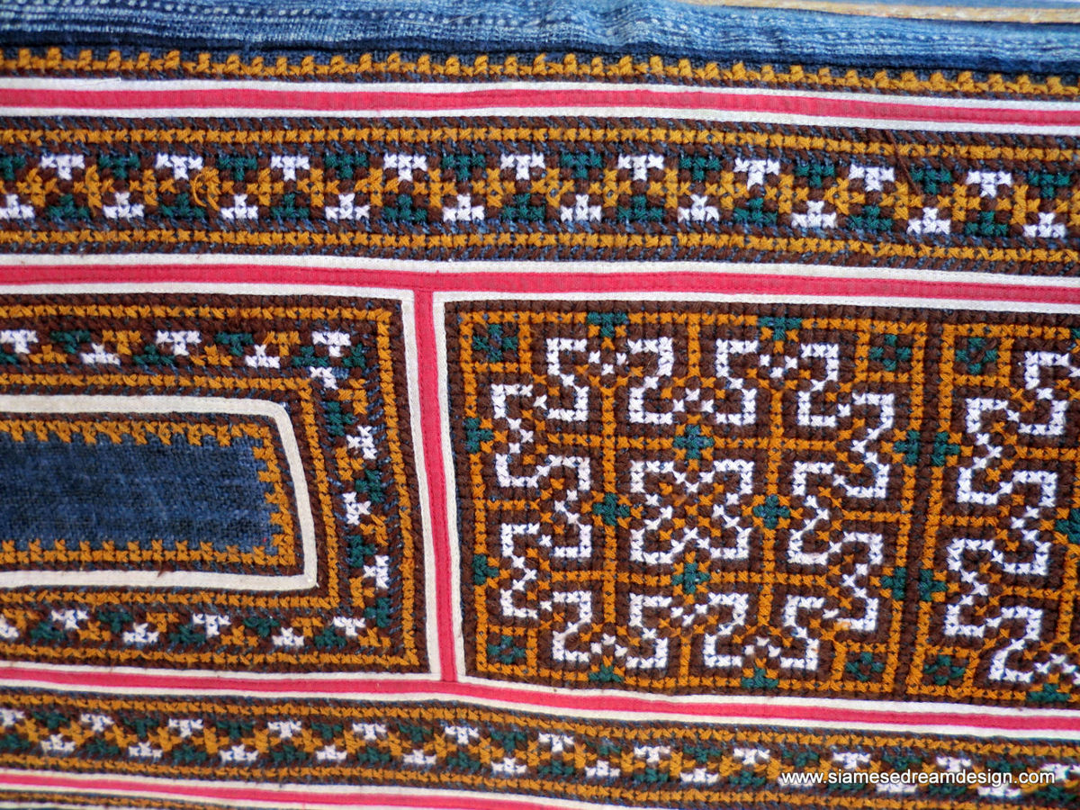 Double Duvet Cover - Vintage Hmong Indigo Batik and Embroidery Cotton  - product images  of