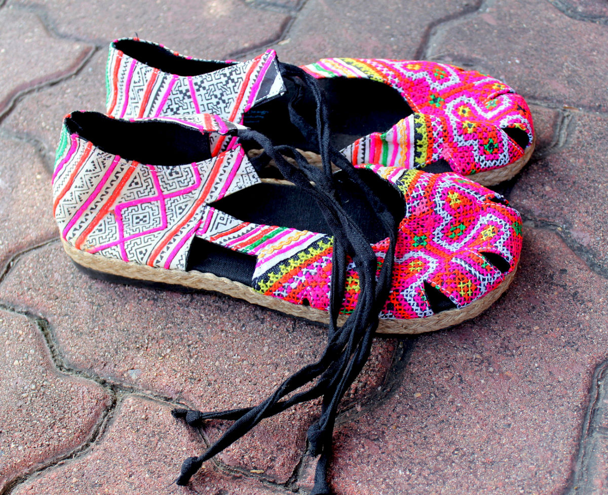 Dahlia Wrap Womens Espadrille With Ankle Wrap In Pink Hmong Embroidery & Batik - product images  of