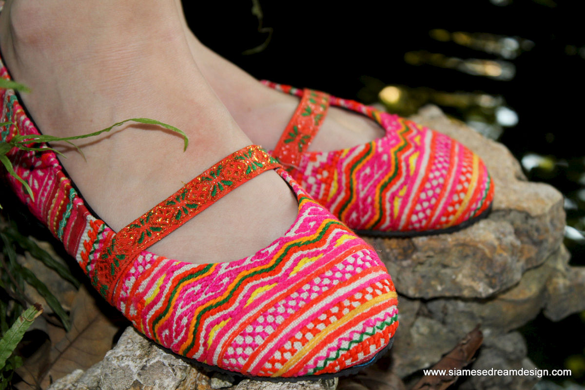 Micha Hmong Pink Orange and Yellow Embroidered Womens Ballet Flats - product images  of