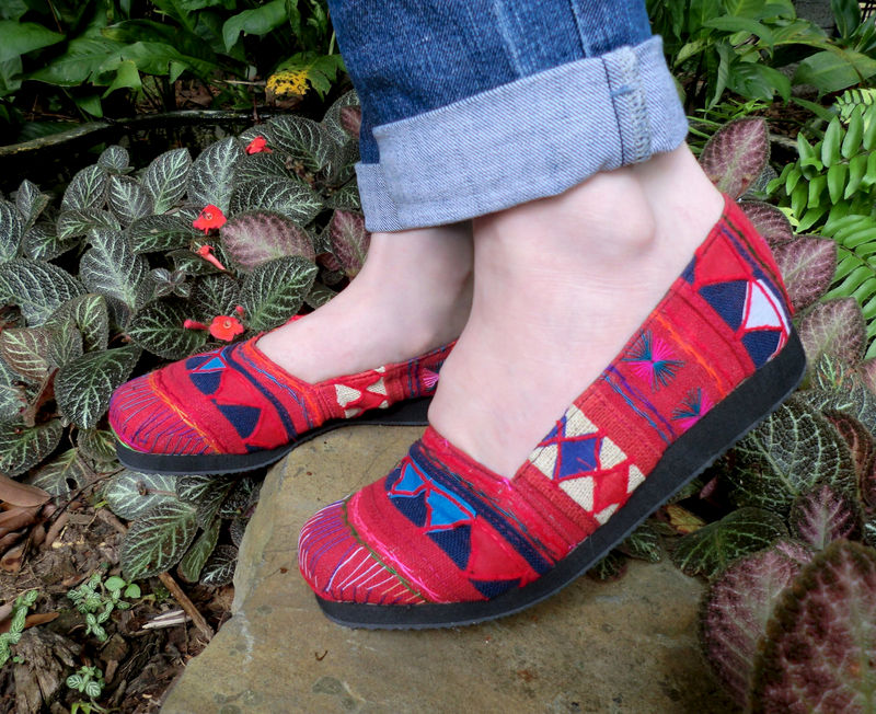 Chloe Vegan Womens Loafer In Red Akha Tribal Embroidery and Applique - product images  of
