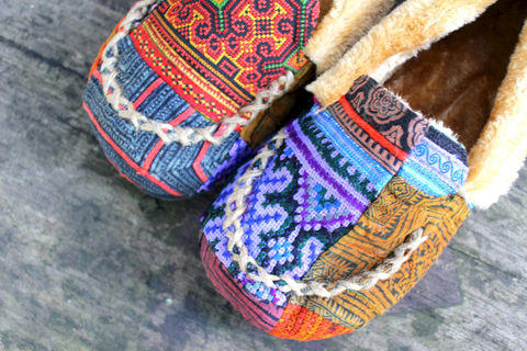 Riley,Womens,Moccasin,Style,Slippers,In,Patchwork,Hmong,Embroidery,Clothing,handmade Shoes,womens Slippers,Hmong slippers, Womens ethnic slippers,plush Slipper,Vegan_Shoe,Vegan_Slipper,Embroidered_Slipper,Plush_Lined_Slipper,womens_slippers,ethnic_tribal,clothing,womens_gifts,mocassin_slipper,natural cotton,vegan