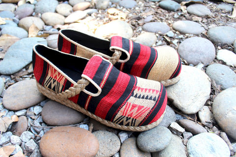 Casey,Womens,Tribal,Naga,Shoes,Red,Tan,And,Black,Clothing,Women,Loafers,Vegan,Comfort,Woven_Cotton,Vegan_Shoes,womens_shoe,ethnic_shoes,womens_shoes,boho_style,slip_on_shoes,8_5_9_10_10_5_11,cotton,rubber sole,rope trim,Naga Woven cotton,vegan