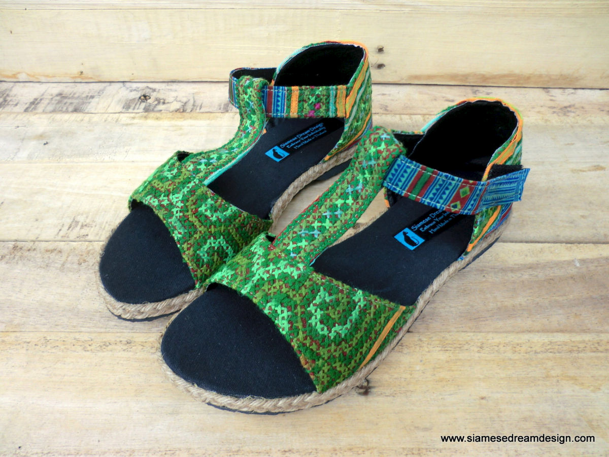 Lindsay T-Strap Vegan Womens Sandal Green Hmong Vintage Embroidery and Batik   - product images  of