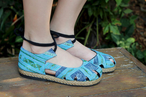 Dahlia,Wrap,Blue,Hmong,Embroidery,&,Intricate,Batik,,Womens,Espadrille,With,Ankle,Clothing,Shoes,Flats,Ethnic,Embroidered,Repurposed,Batik,Flat,Vegan_shoes,Colorful_shoes,womens_shoes,boho,7_8_9_10,Natural Cotton,Hmong embroidery,indigo batik