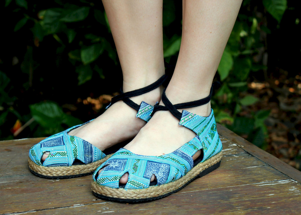 Dahlia Wrap Blue Hmong Embroidery & Intricate Batik, Womens Espadrille With Ankle Wrap - product images  of