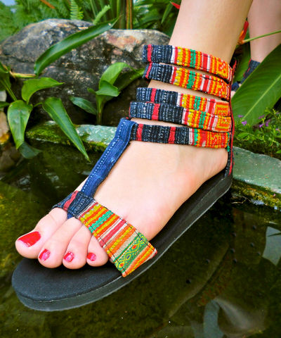 Cassandra,Vegan,Gladiator,Sandals,In,Orange,Hmong,Embroidery,and,Indigo,Batik,Clothing,Shoes,Women,Tribal,Handmade,Embroidered,Womens,Strappy,Girls_Sandals,Vegan_Shoes,4_5_6,cotton,natural cotton,embroidered,indigo batik,vegan