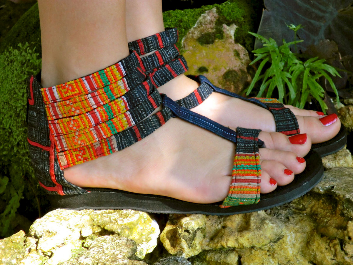 Cassandra Vegan Gladiator Sandals In Orange Hmong Embroidery and Indigo Batik - product images  of