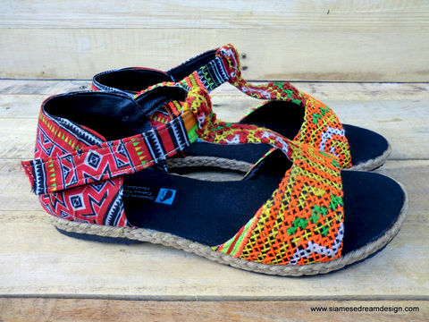 Lindsay,T,Strap,Vegan,Womens,Sandals,In,Ethnic,Hmong,Embroidery,Clothing,Shoes,Embroidered,Women,Sandal,Vegan_Shoes,Tribal_Shoes,Womens_Shoes,t_strap,orange,ethnic_shoes,Hmong_shoes,5_6_7_8_9_10,cotton,natural cotton,embroidered,batik,vegan